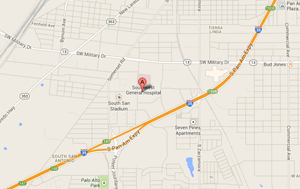 Location Map to our S. San Antonio Heartburn Treatment Center
